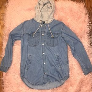 Jean Button Up Jacket with Hood